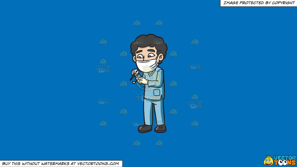 A Male Dental Hygienist During An Operation On A Solid Spanish Blue 016fb9 Background thumbnail