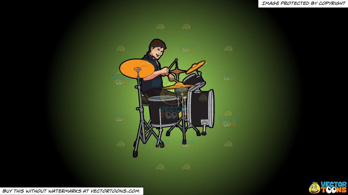 A Male Drummer On A Green And Black Gradient Background thumbnail