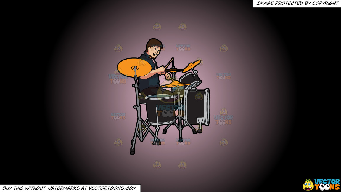 A Male Drummer On A Pink And Black Gradient Background thumbnail