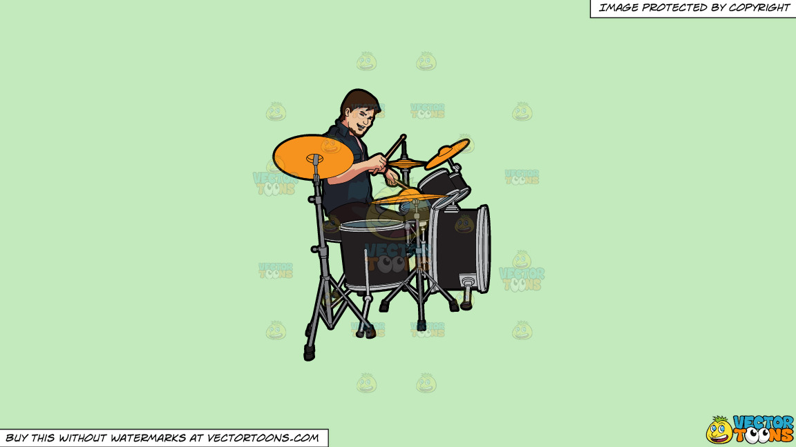 A Male Drummer On A Solid Tea Green C2eabd Background thumbnail