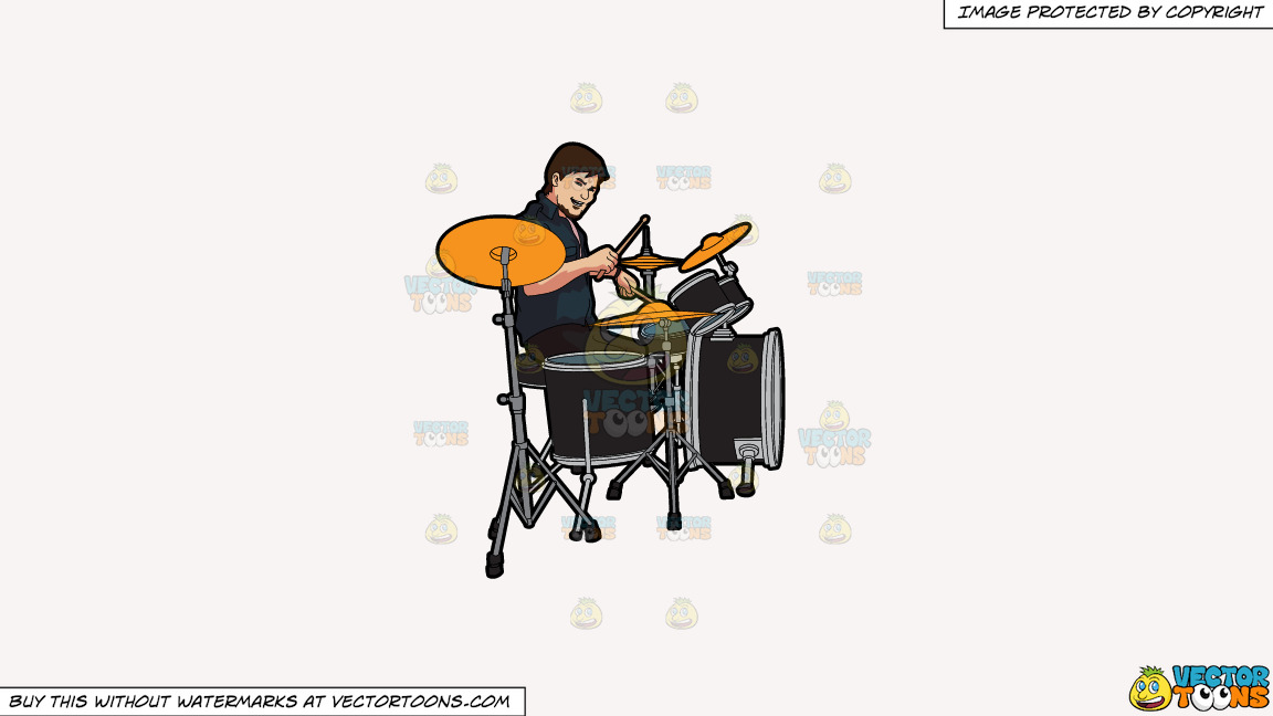 A Male Drummer On A Solid White Smoke F7f4f3 Background thumbnail