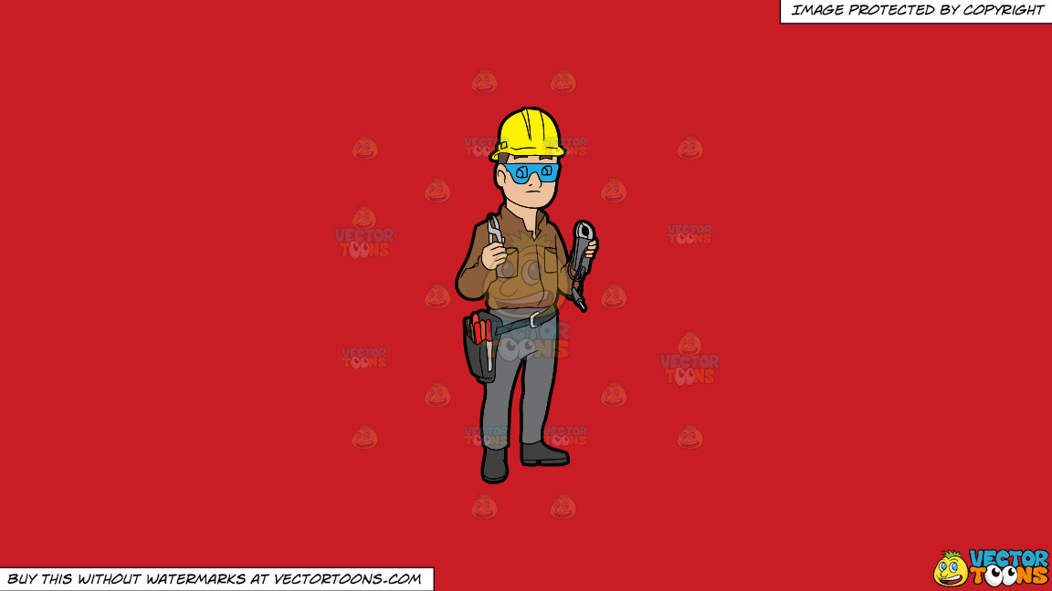 A Male Electrician Holding Some Tools On A Solid Fire Engine Red C81d25 Background thumbnail