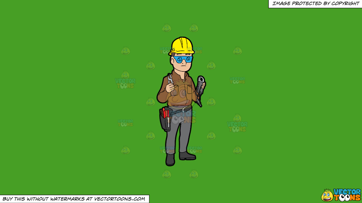 A Male Electrician Holding Some Tools On A Solid Kelly Green 47a025 Background thumbnail