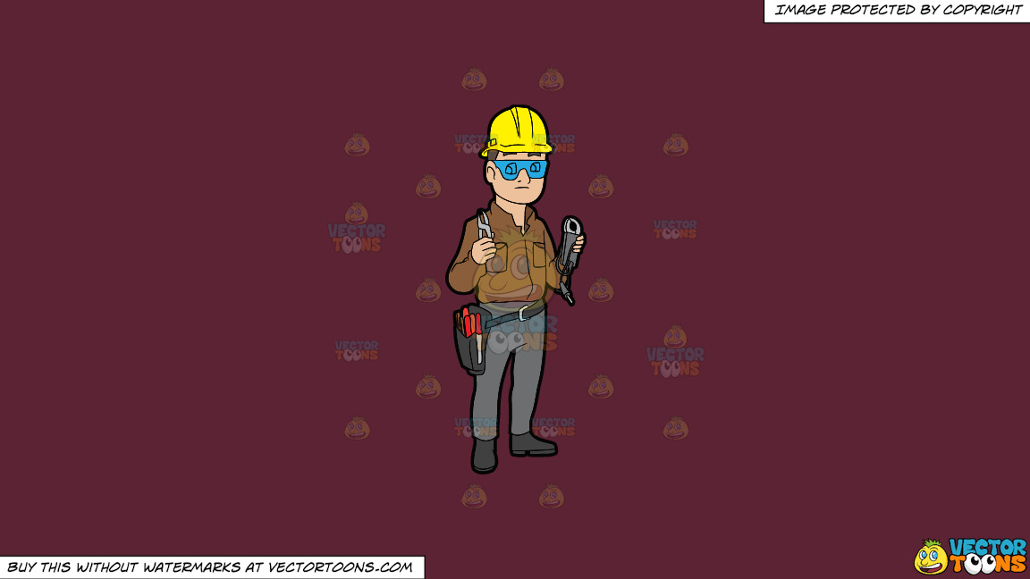 A Male Electrician Holding Some Tools On A Solid Red Wine 5b2333 Background thumbnail