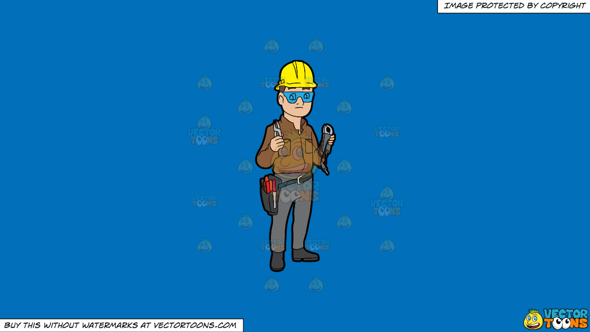 A Male Electrician Holding Some Tools On A Solid Spanish Blue 016fb9 Background thumbnail