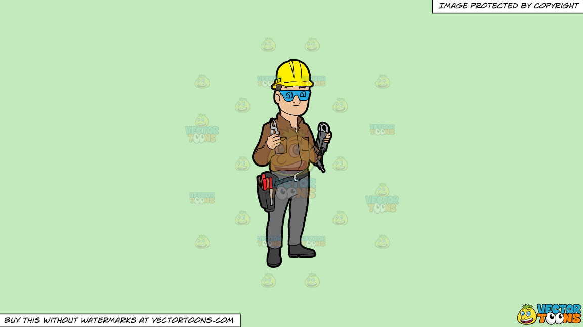 A Male Electrician Holding Some Tools On A Solid Tea Green C2eabd Background thumbnail