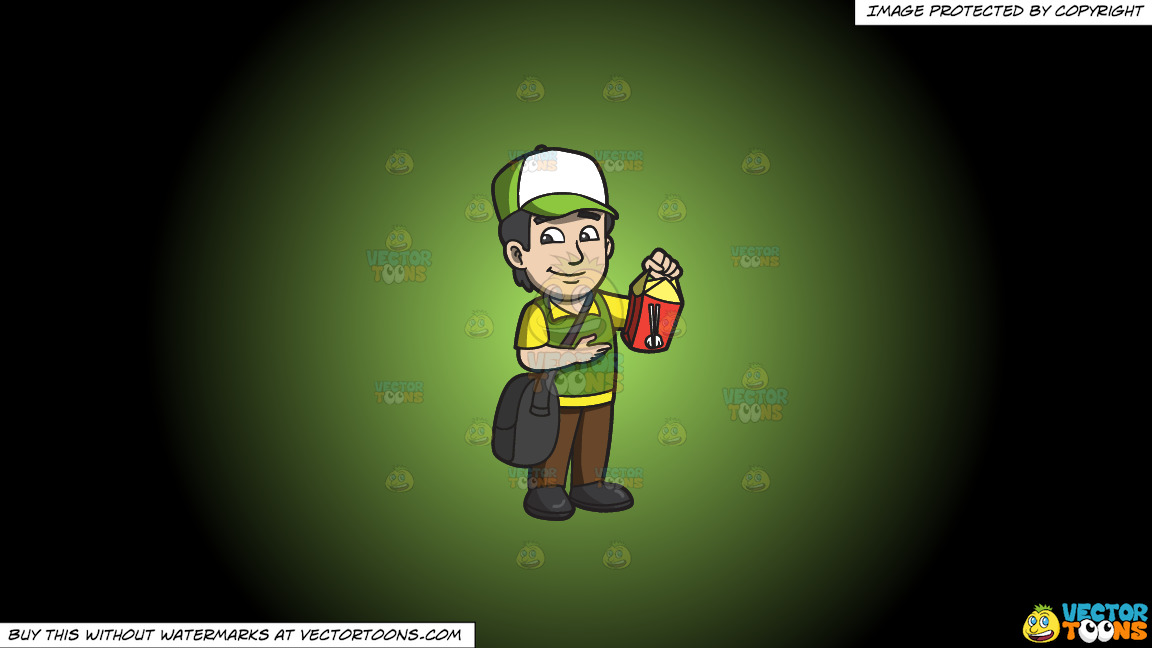 A Male Employee Delivering Chinese Food On A Green And Black Gradient Background thumbnail