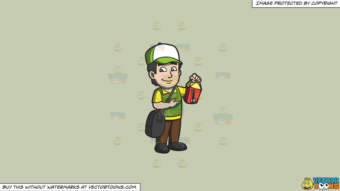 A Male Employee Delivering Chinese Food On A Solid Pale Silver C6ccb2 Background thumbnail
