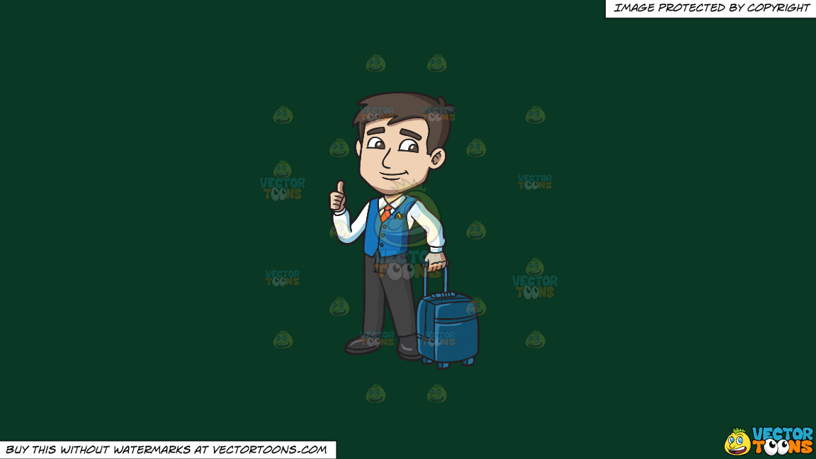 A Male Flight Attendant Carrying A Trolley Luggage On A Solid Dark Green 093824 Background thumbnail