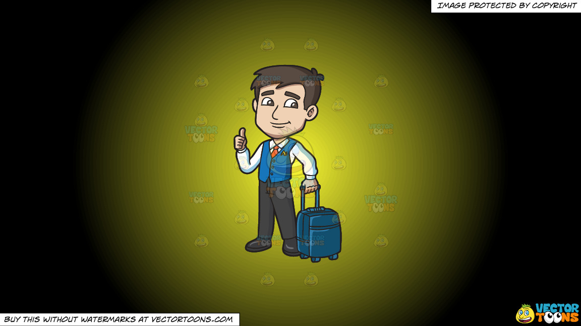 A Male Flight Attendant Carrying A Trolley Luggage On A Yellow And Black Gradient Background thumbnail