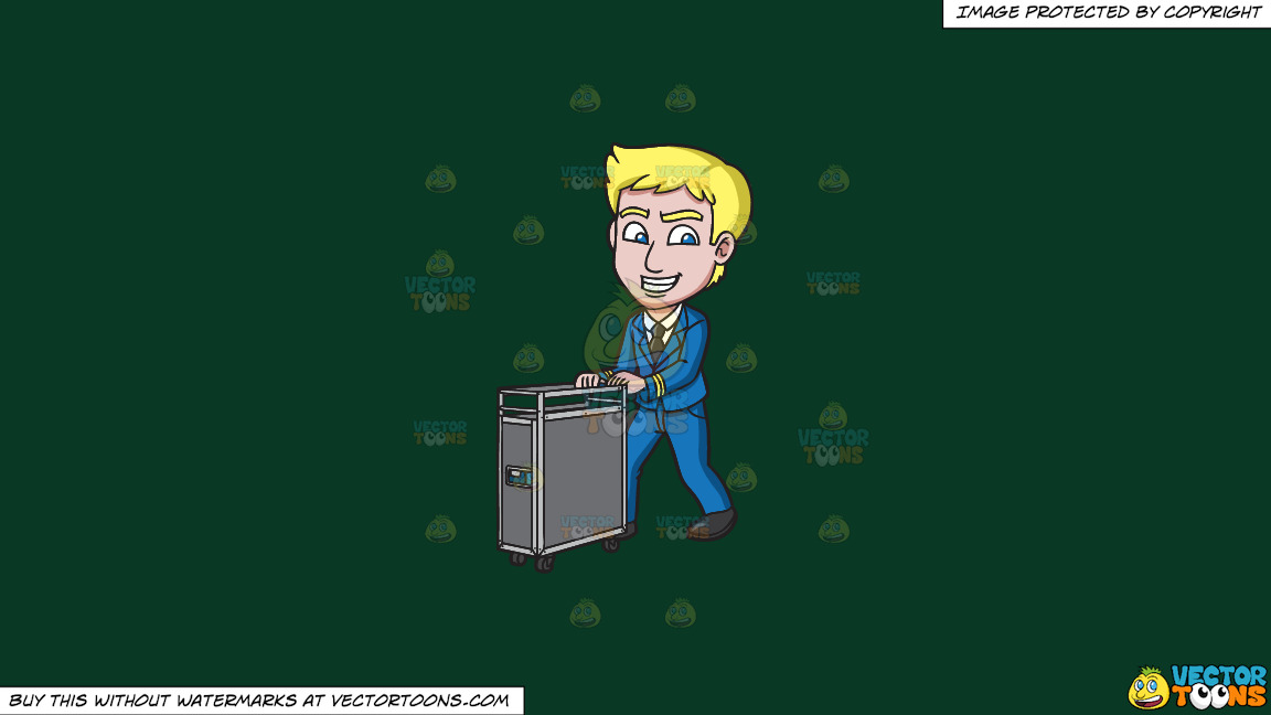 A Male Flight Attendant Pushing The Food Cart On A Solid Dark Green 093824 Background thumbnail