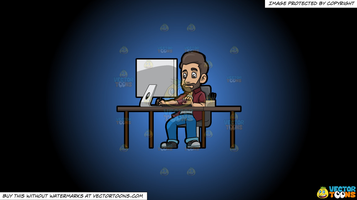 A Male Graphic Designer Working On A Project Using A Computer On A Blue And Black Gradient Background thumbnail