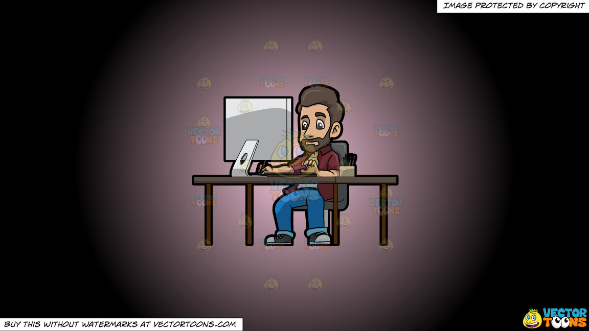 A Male Graphic Designer Working On A Project Using A Computer On A Pink And Black Gradient Background thumbnail