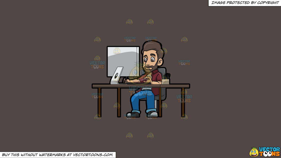 A Male Graphic Designer Working On A Project Using A Computer On A Solid Quartz 504746 Background thumbnail