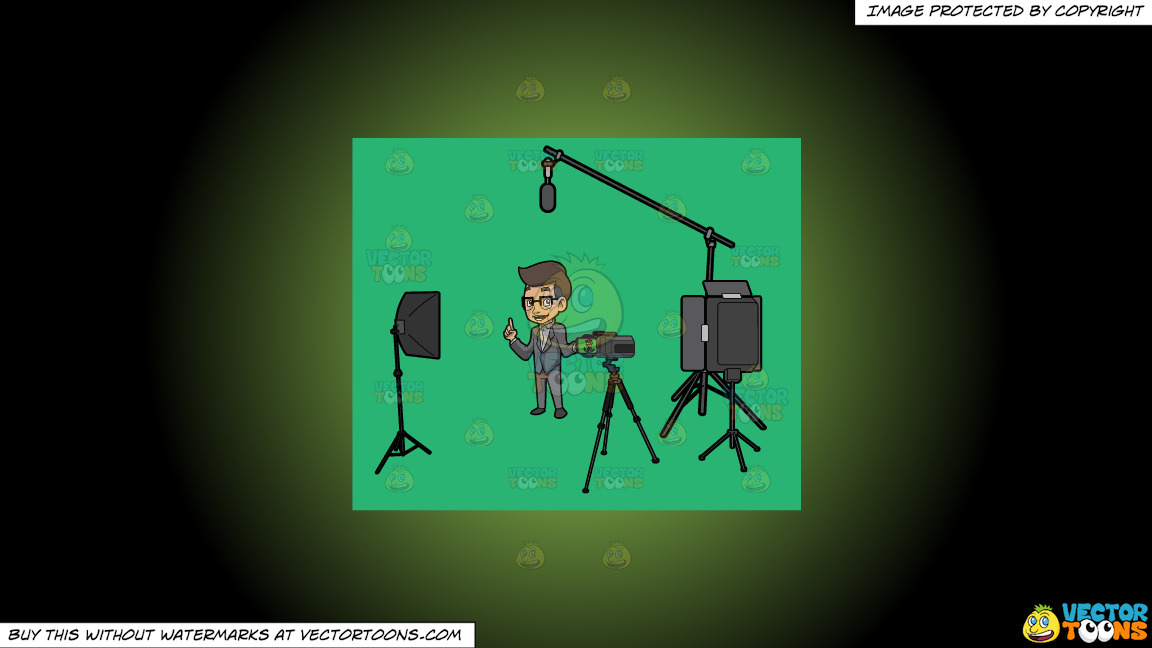A Male Host Filming The Introduction For His Show On A Green And Black Gradient Background thumbnail