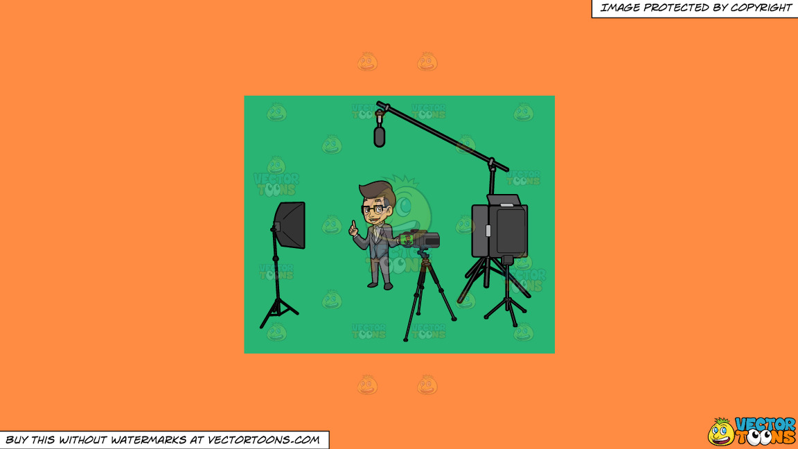 A Male Host Filming The Introduction For His Show On A Solid Mango Orange Ff8c42 Background thumbnail