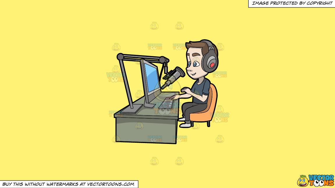 A Male Host Recording A Podcast On A Solid Sunny Yellow Fff275 Background thumbnail