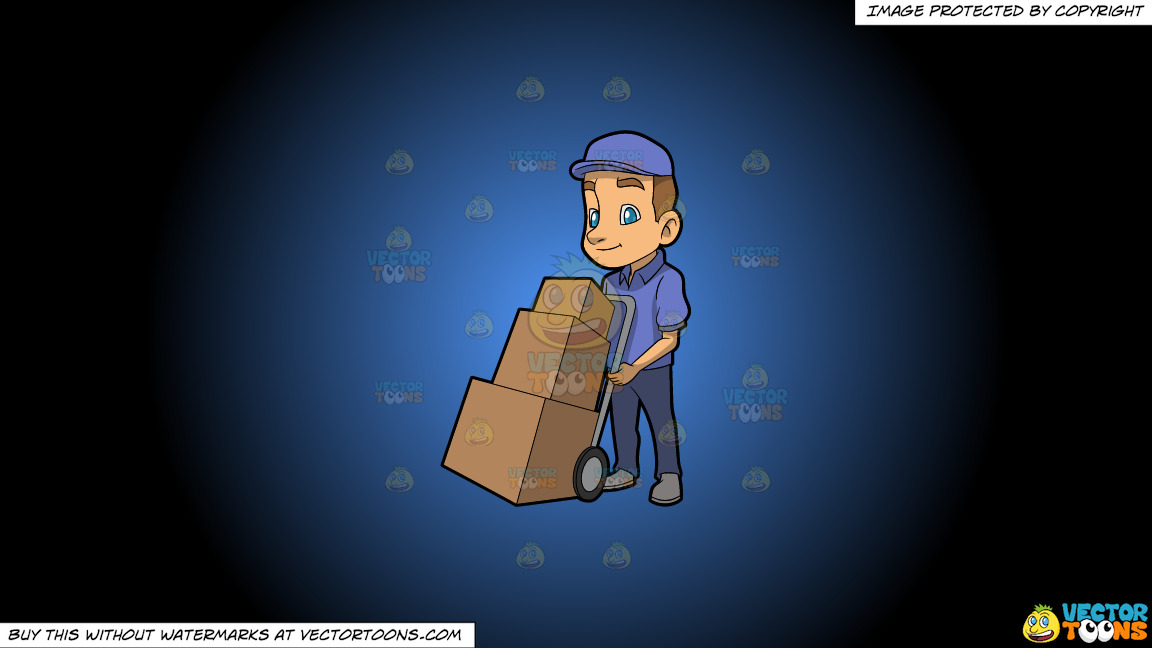 A Male Mover With Three Boxes On A Blue And Black Gradient Background thumbnail