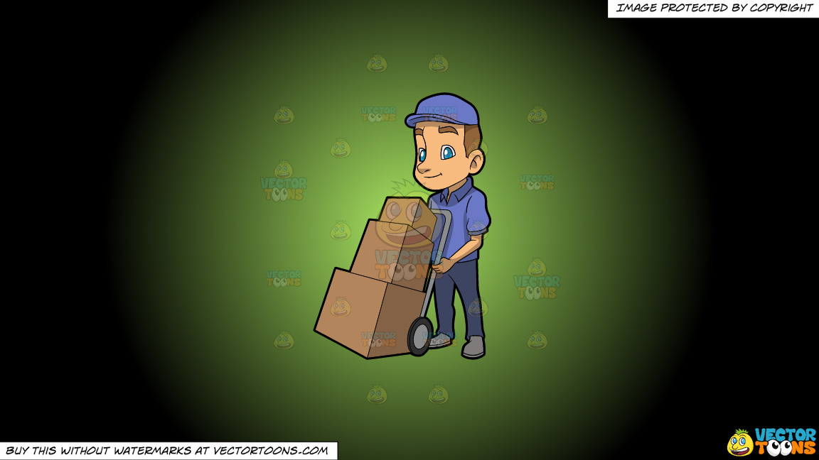 A Male Mover With Three Boxes On A Green And Black Gradient Background thumbnail