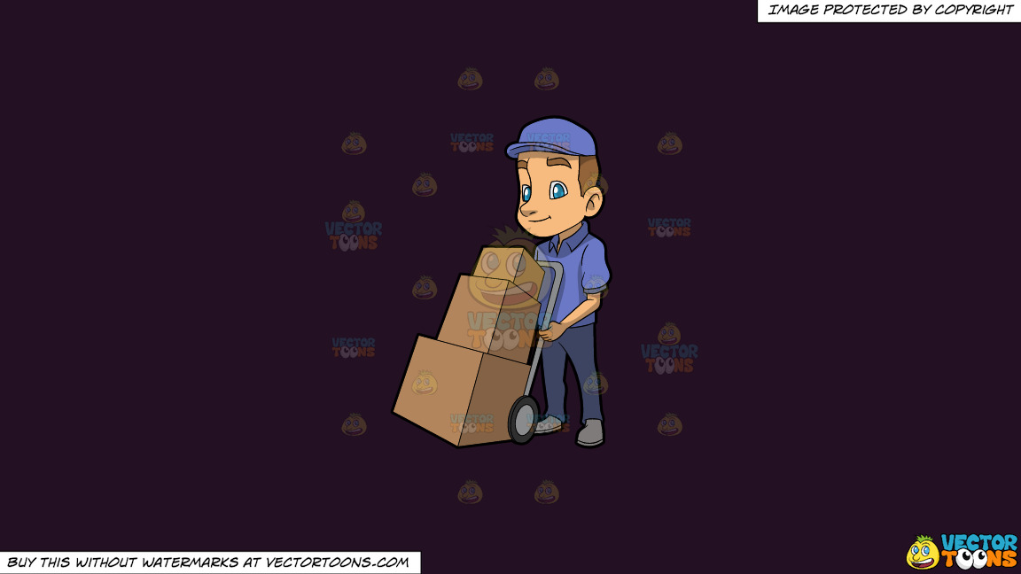 A Male Mover With Three Boxes On A Solid Purple Rasin 241023 Background thumbnail