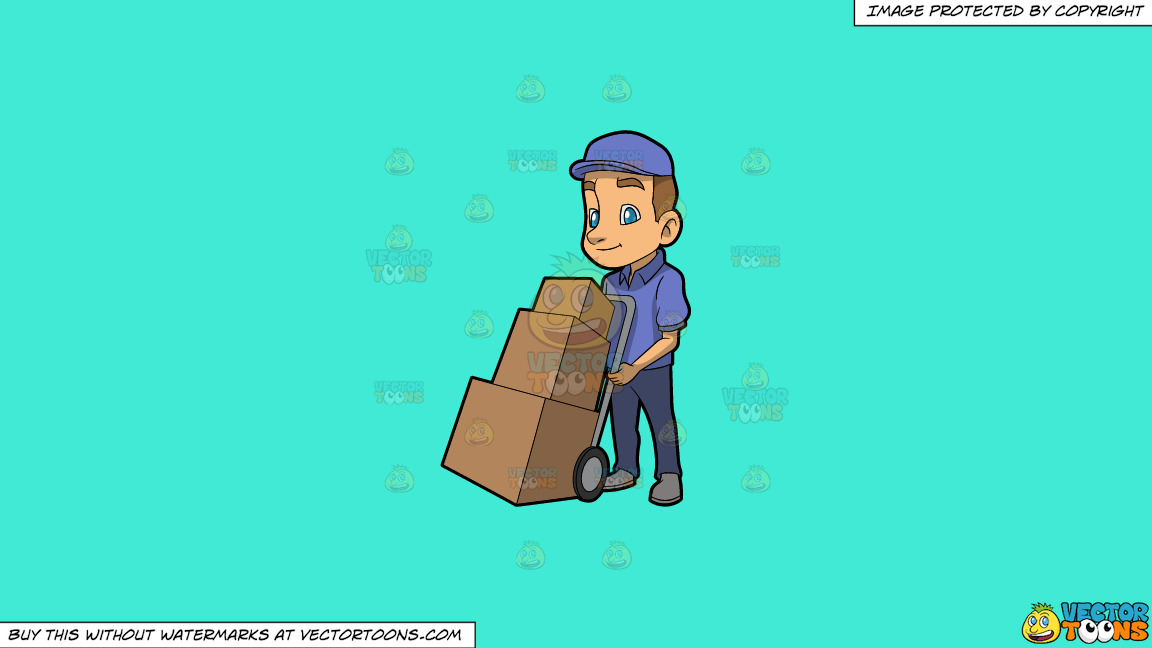 A Male Mover With Three Boxes On A Solid Turquiose 41ead4 Background thumbnail