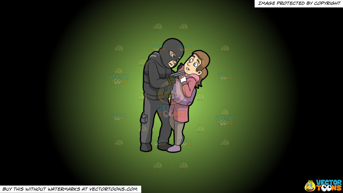 A Male Mugger Pointing A Gun At His Female Victim On A Green And Black Gradient Background thumbnail
