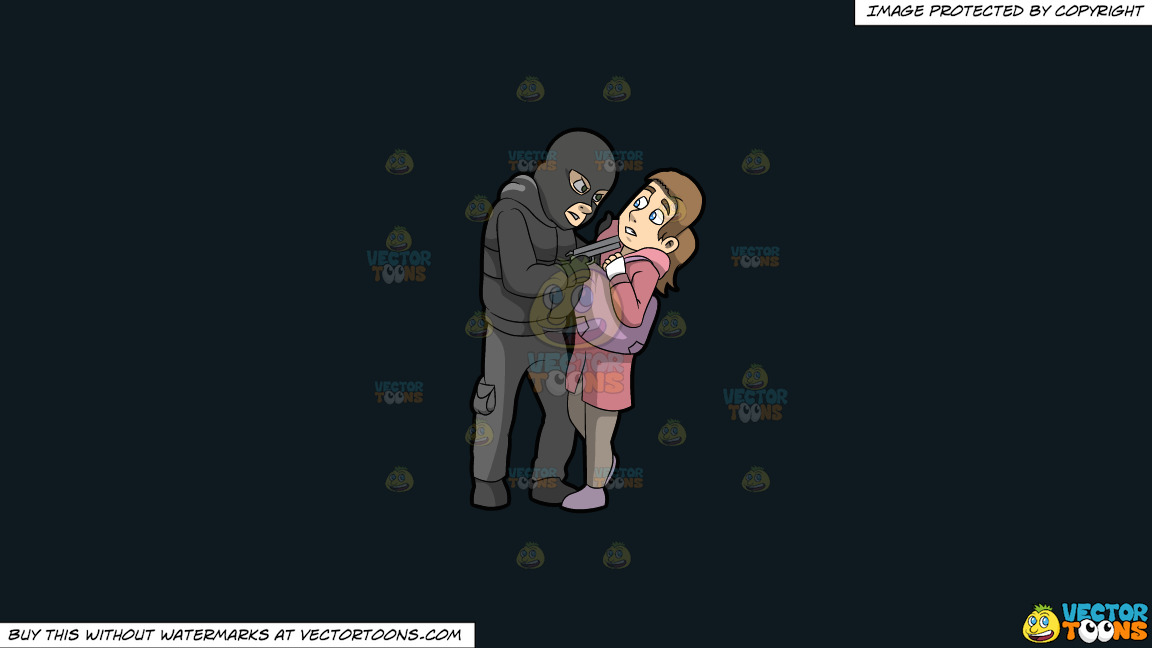 A Male Mugger Pointing A Gun At His Female Victim On A Solid Off Black 0f1a20 Background thumbnail