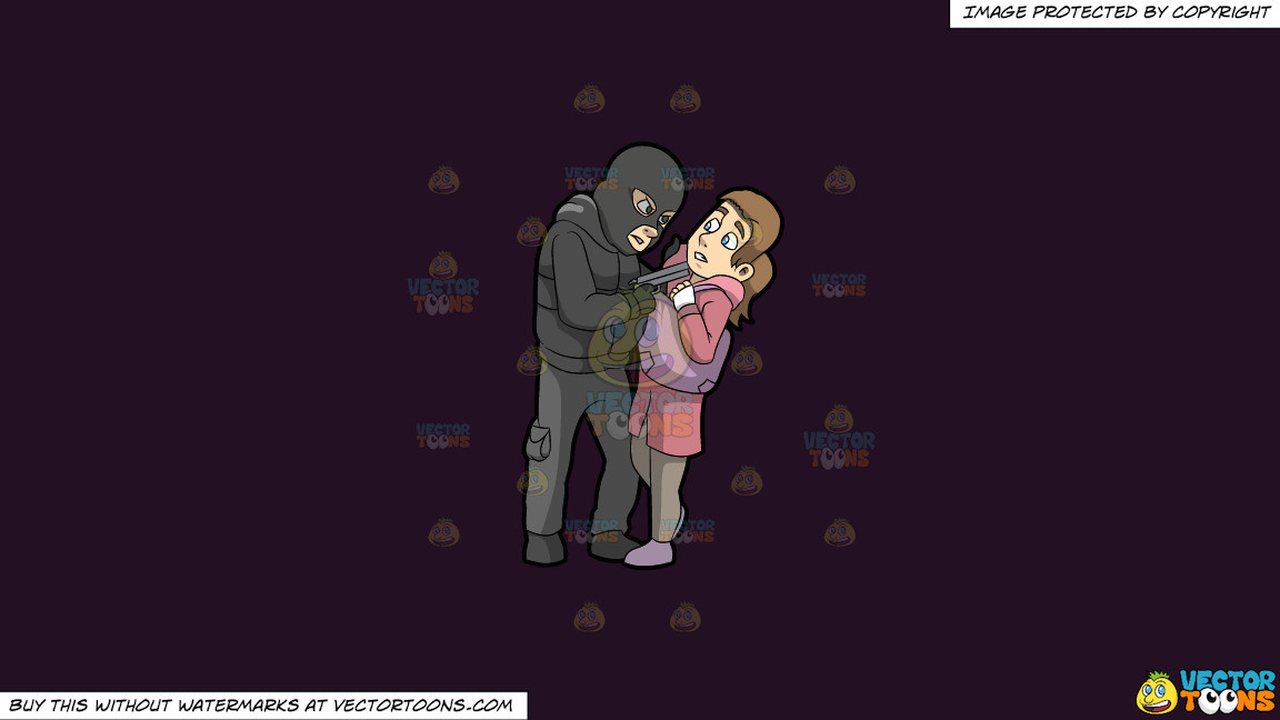A Male Mugger Pointing A Gun At His Female Victim On A Solid Purple Rasin 241023 Background thumbnail