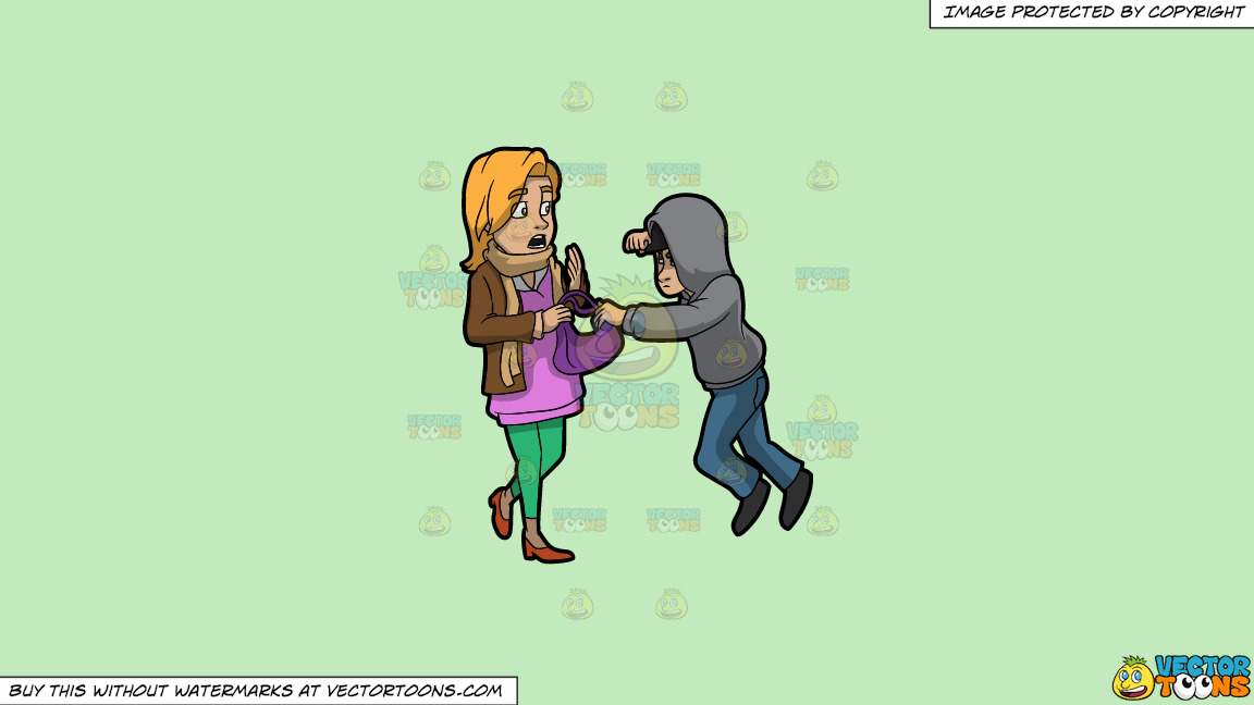 A Male Mugger Ready To Punch A Woman On A Solid Tea Green C2eabd Background thumbnail