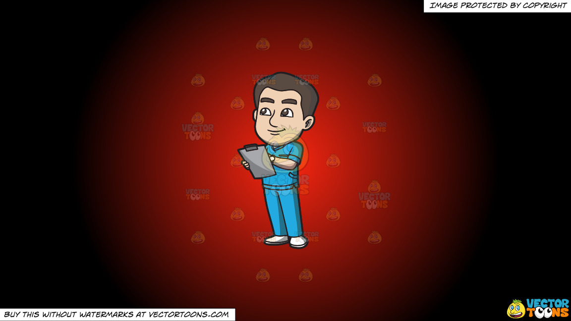A Male Nurse Jotting Down Vital Records On A Red And Black Gradient Background thumbnail