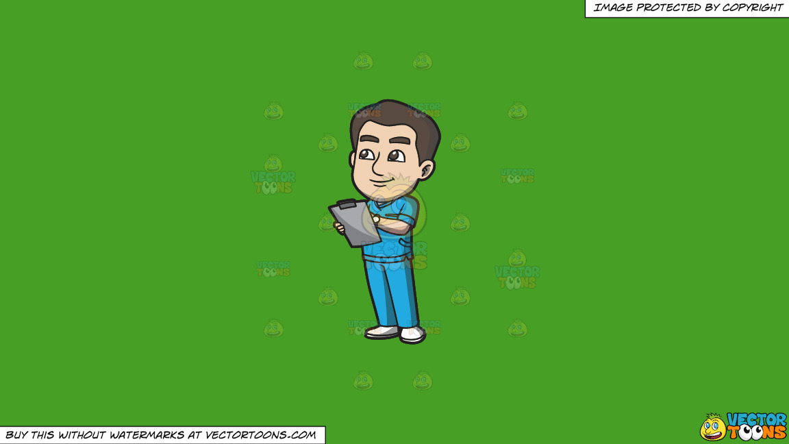 A Male Nurse Jotting Down Vital Records On A Solid Kelly Green 47a025 Background thumbnail