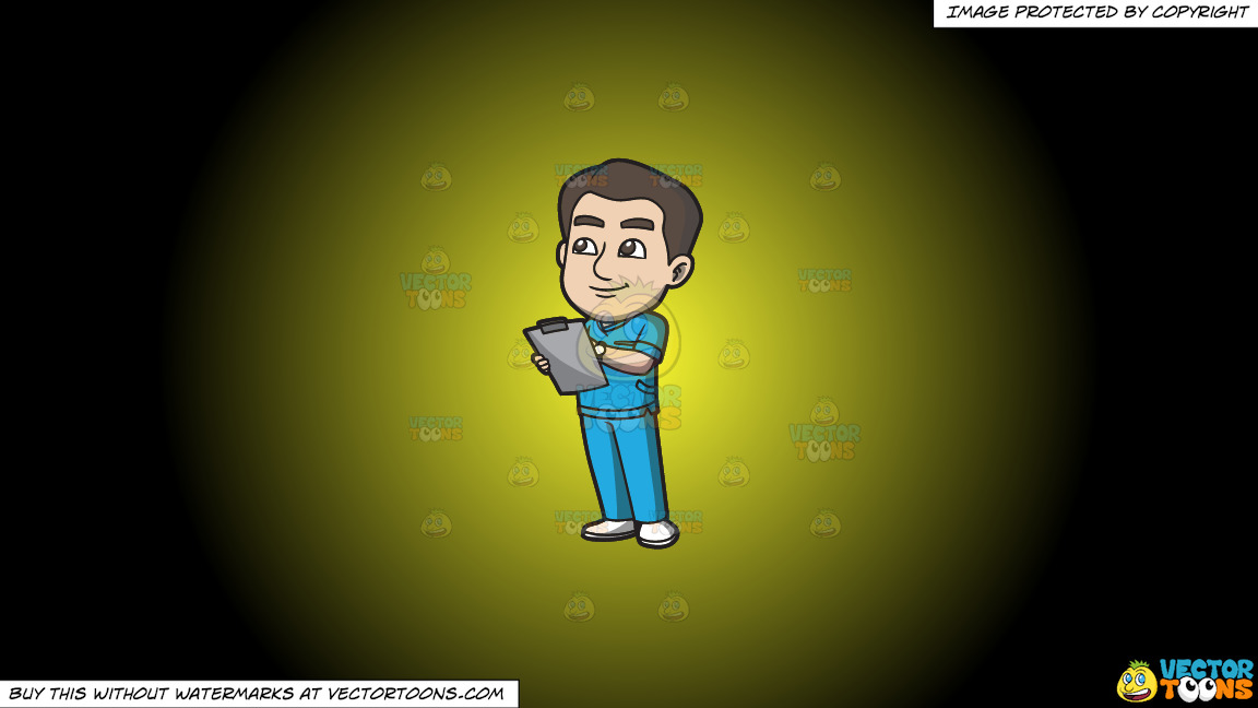 A Male Nurse Jotting Down Vital Records On A Yellow And Black Gradient Background thumbnail
