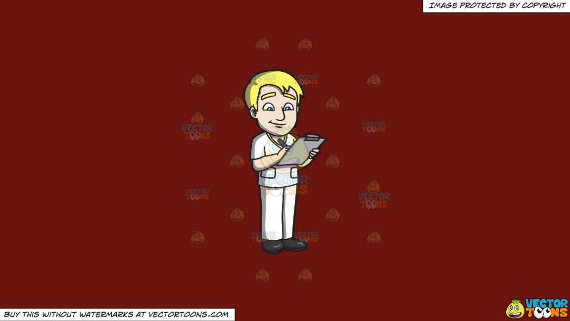 A Male Nurse Writing On A Clipboard On A Solid Maroon 69140e Background thumbnail