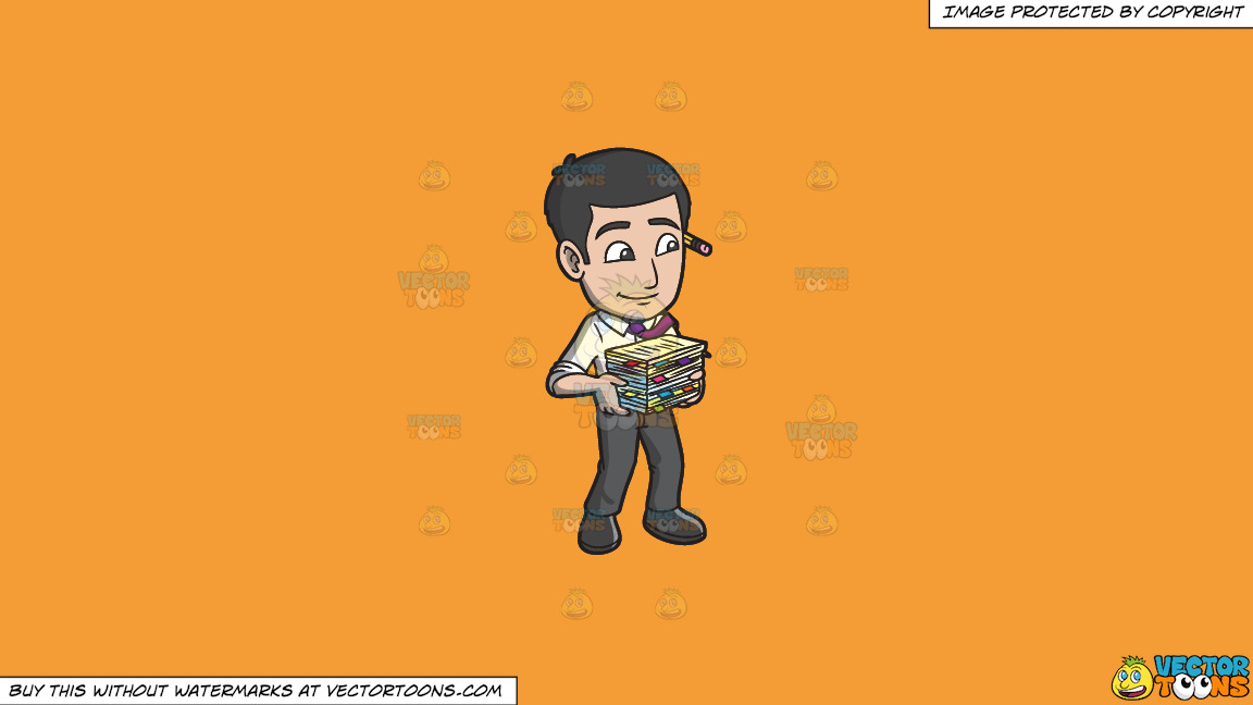 A Male Office Worker Carrying A Stack Of Files On A Solid Deep Saffron Gold F49d37 Background thumbnail