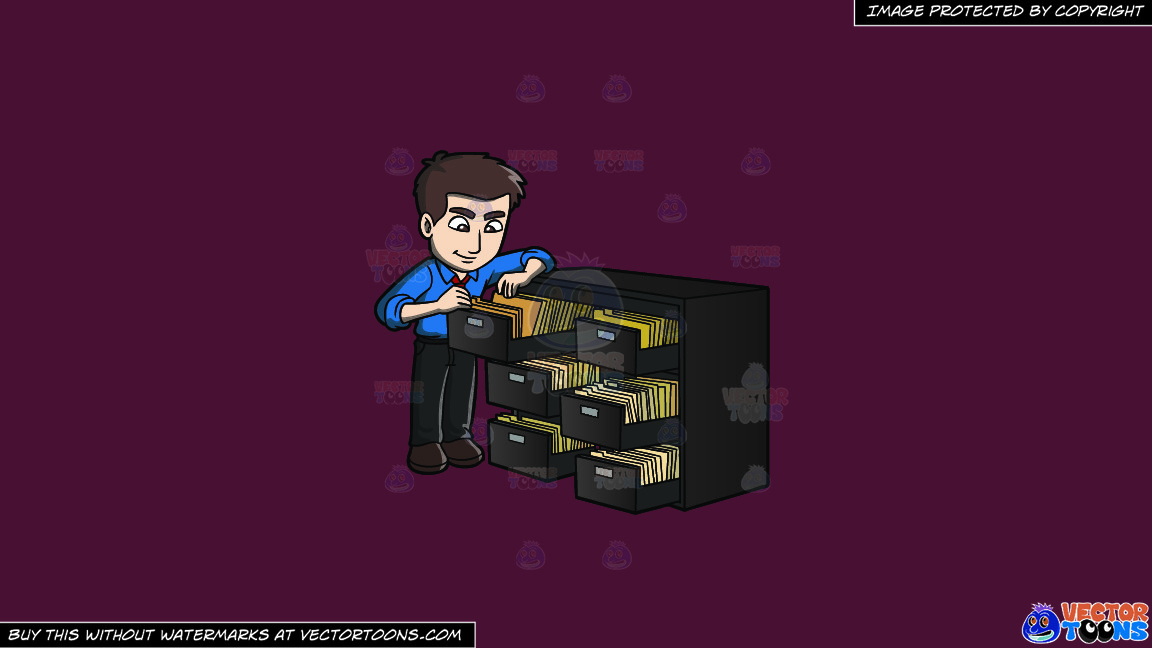 A Male Office Worker Searching For A Folder In The File Room On A Solid Red Wine 5b2333 Background thumbnail