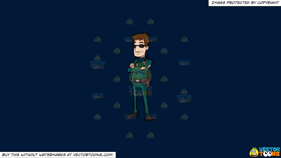 A Male Paramedic Wearing Sunglasses On A Solid Dark Blue 011936 Background thumbnail