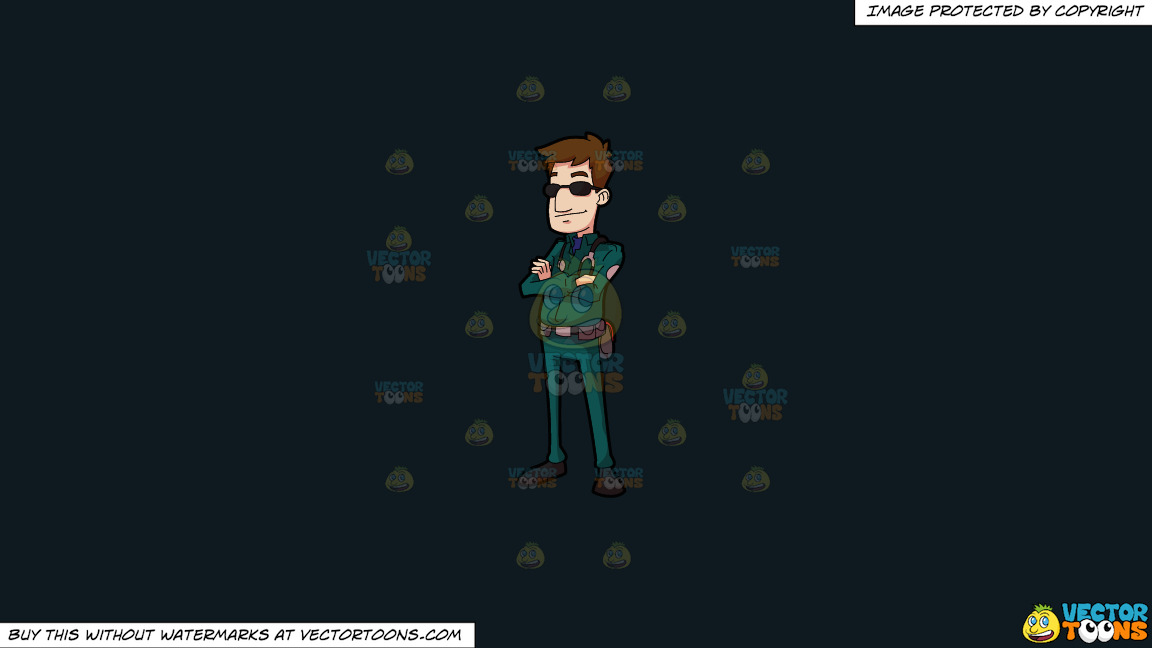 A Male Paramedic Wearing Sunglasses On A Solid Off Black 0f1a20 Background thumbnail