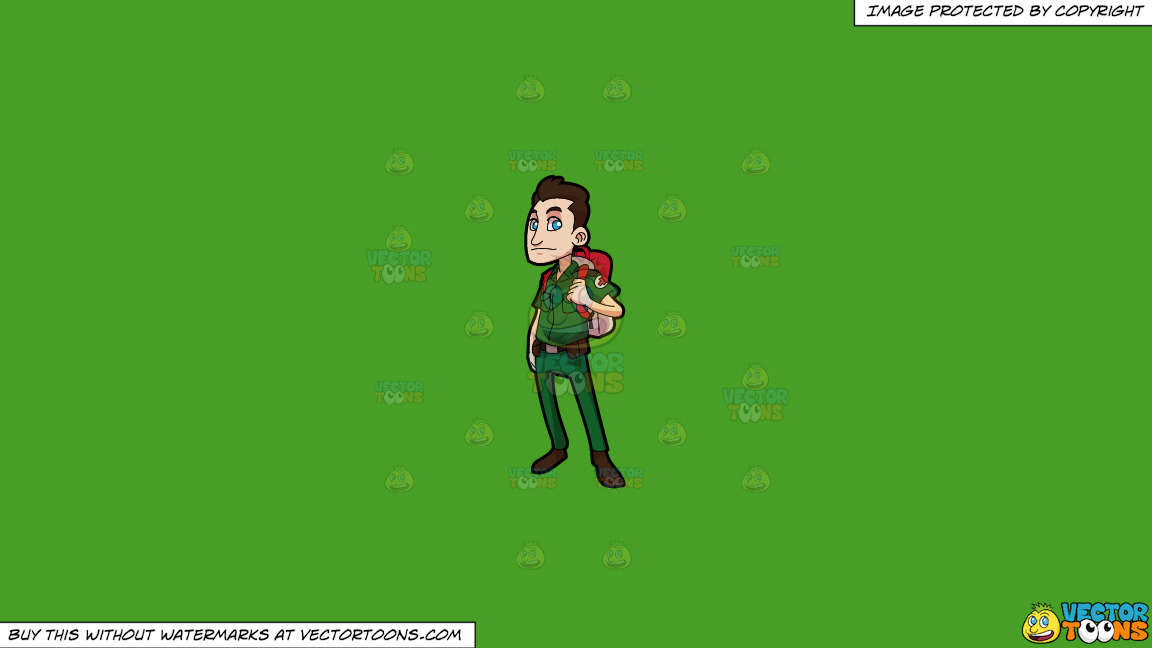 A Male Paramedic With A First Aid Backpack On A Solid Kelly Green 47a025 Background thumbnail