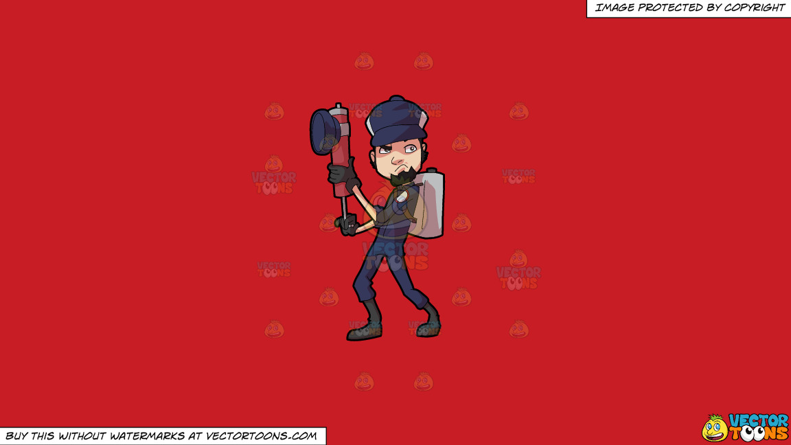 A Male Pest Exterminator Getting Ready For Action On A Solid Fire Engine Red C81d25 Background thumbnail