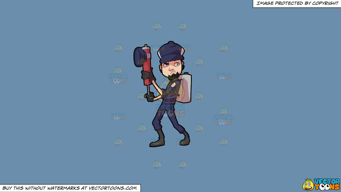 A Male Pest Exterminator Getting Ready For Action On A Solid Shadow Blue 6c8ead Background thumbnail