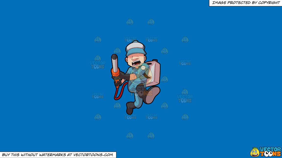 A Male Pest Exterminator In Action With A Defogger On A Solid Spanish Blue 016fb9 Background thumbnail