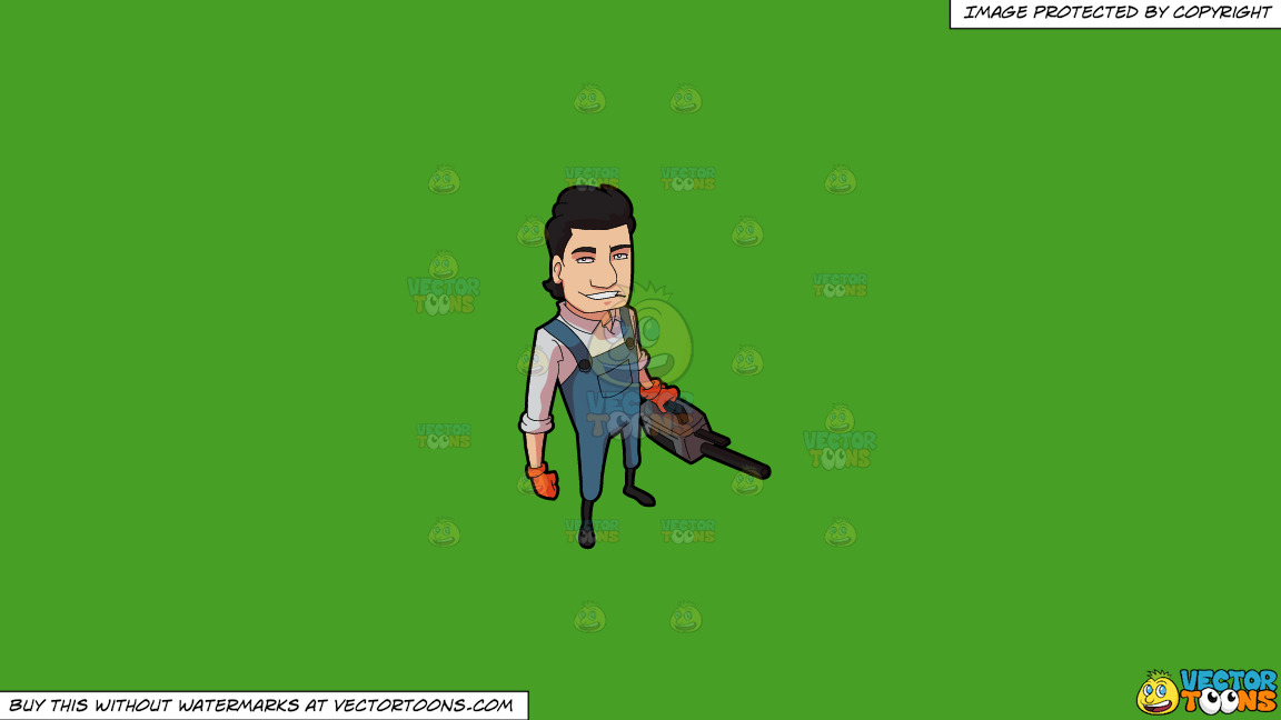 A Male Pest Exterminator With A Defogger On A Solid Kelly Green 47a025 Background thumbnail