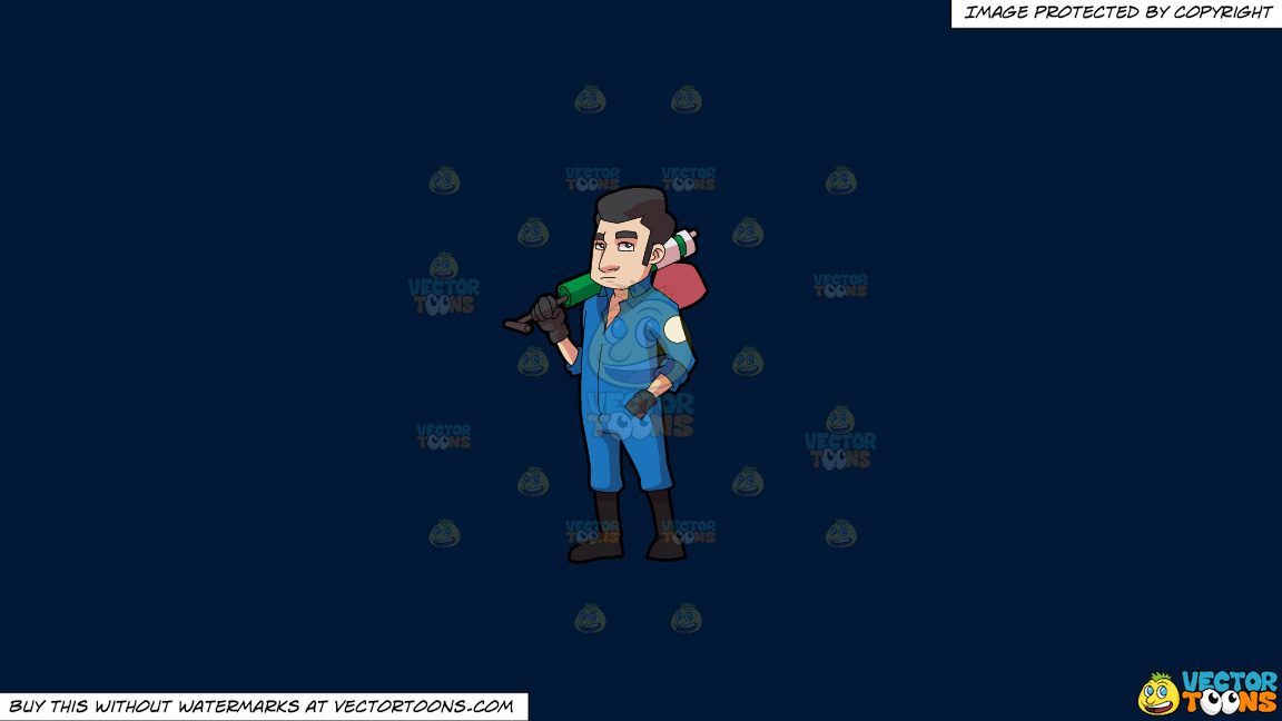 A Male Pest Exterminator With His Spray Pump On A Solid Dark Blue 011936 Background thumbnail