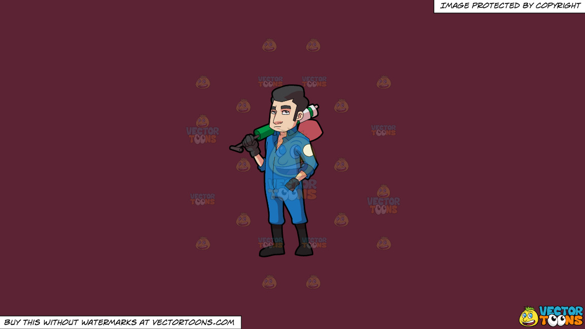 A Male Pest Exterminator With His Spray Pump On A Solid Red Wine 5b2333 Background thumbnail