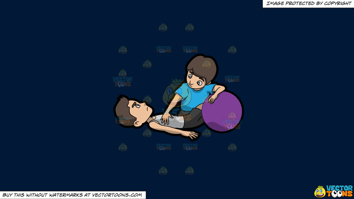 A Male Physical Therapist Helping A Man Do Some Core Exercises On A Solid Dark Blue 011936 Background thumbnail