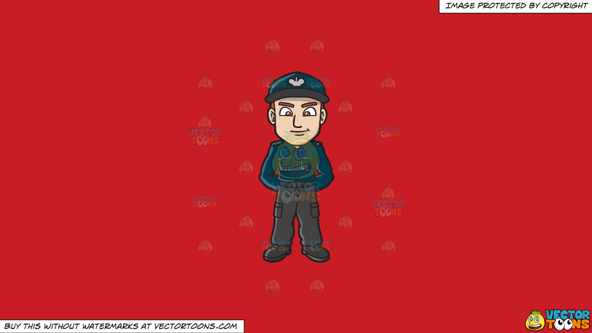 A Male Polish Sergeant On A Solid Fire Engine Red C81d25 Background thumbnail