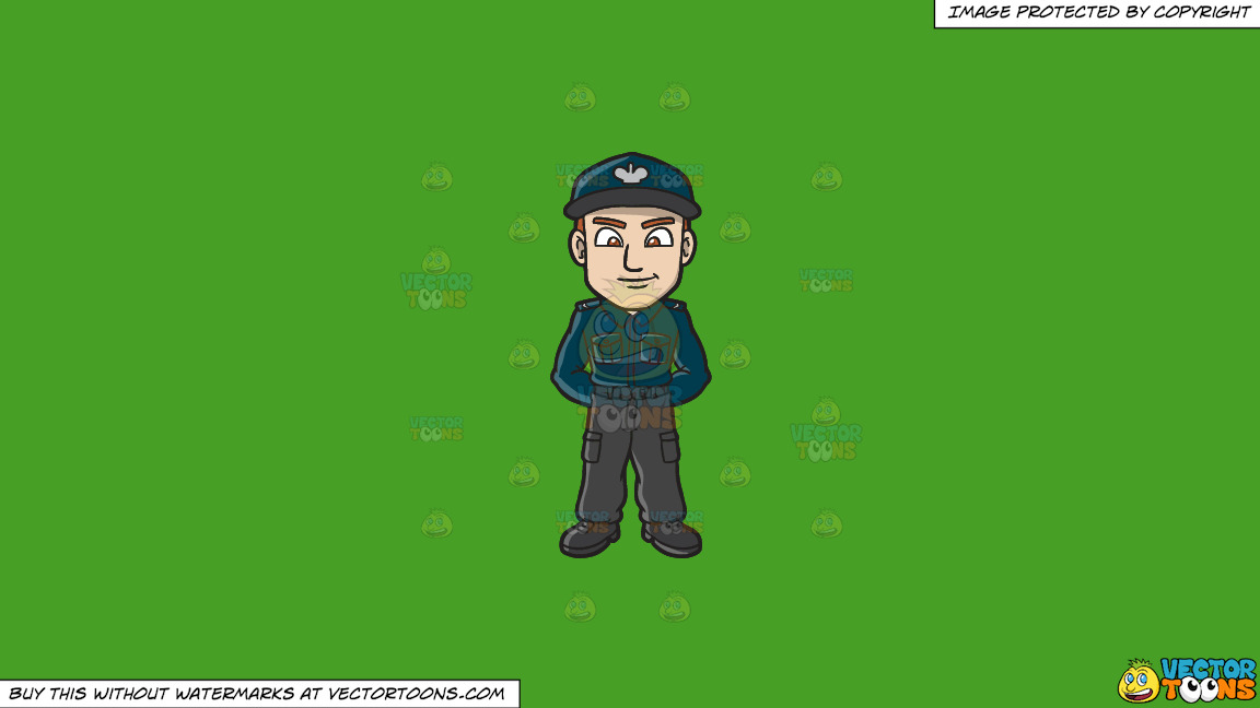 A Male Polish Sergeant On A Solid Kelly Green 47a025 Background thumbnail