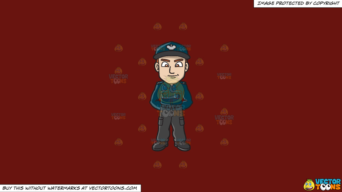 A Male Polish Sergeant On A Solid Maroon 69140e Background thumbnail