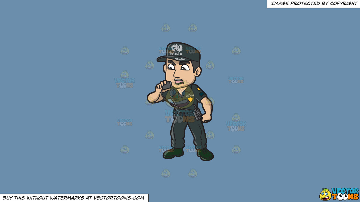 A Male Portuguese Police Constable On A Solid Shadow Blue 6c8ead Background thumbnail