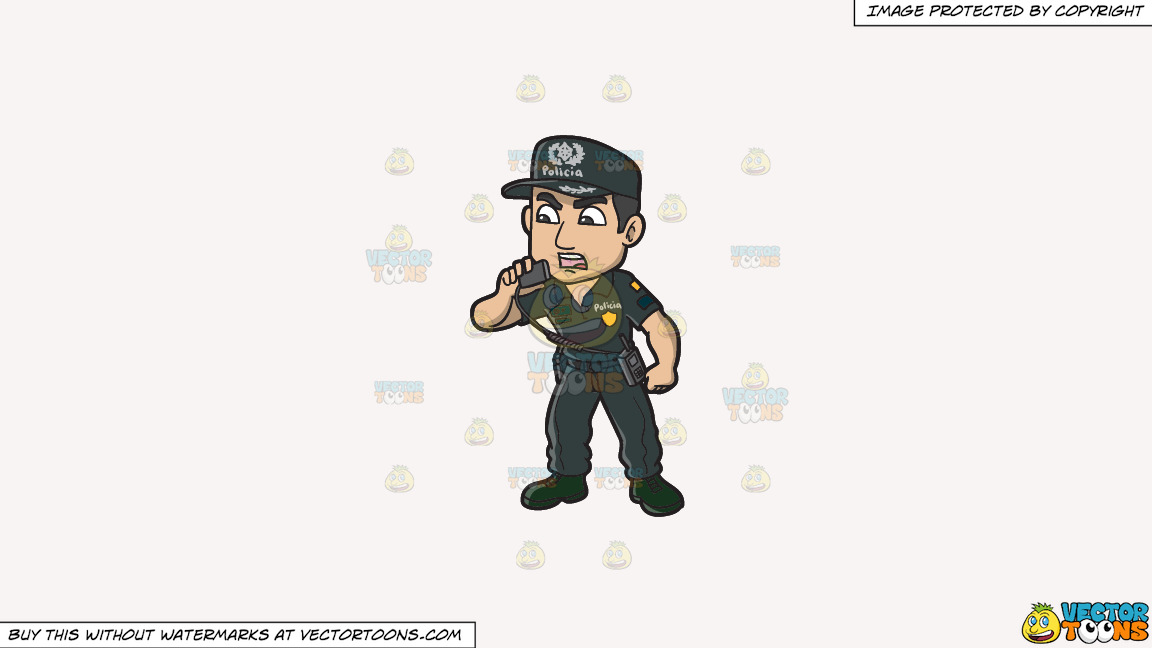 A Male Portuguese Police Constable On A Solid White Smoke F7f4f3 Background thumbnail